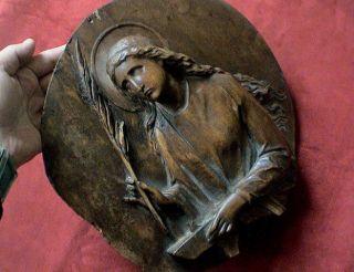 Antike Grosse Holz Skulptur Eines Baunernheilige,  19.  Jhd.  Hochreliefschnitzerei. Bild