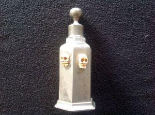 Alte Gift,  Medizin - Flasche Zinn Mit TotenkÖpfen Um 1850 Bild