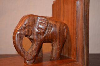 Alter Elefant Buchstütze Holz Handgechnitzt Ca 60 Jahre Alt Beidseitig Stellbar Bild