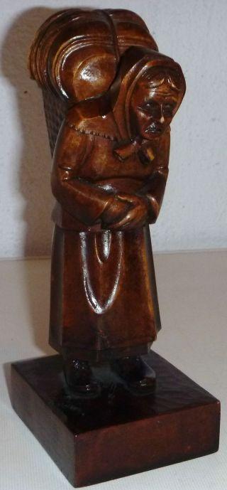 Alte Geschnitzte Figur Bäuerin,  Rhönschnitzerei Um 1920,  Arthur Döll,  Meiningen Bild