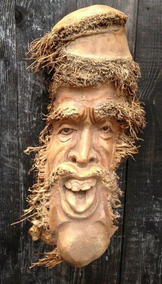 Große Schnitzerei Wurzel Sepp Wald Schrat Holz Gesicht Ca 45cm Bild