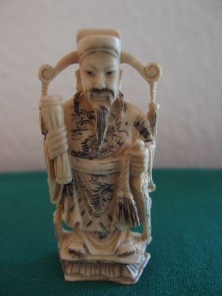 Figur Chinese 19.  Jahrhdt.  Bein Geschnitzt Bild