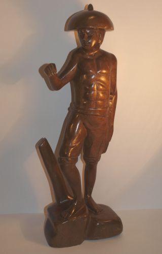 Massive Große SchÖn Gearbeitete Alte Seltene Holz Figur/skulptur RaritÄt Bild