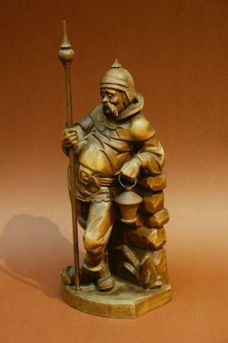 Rarität Figur Holz Geschnitzt - Mittelalter Wächter Bild