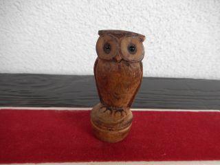 Eule Uhu Mit Augen Stehend Aus Holz Holzfigurtier - Figur Braun Weihnachten Deko Bild