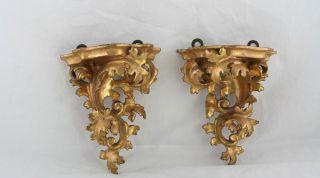 1 Paar Wandkonsolen Holzgeschnitzt Und Vergoldet,  Für Porzellanfiguren,  Um 1900 Bild