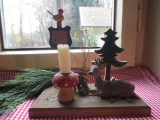 Alter Kerzenhalter - Fliegenpilz - Hirsch - Tanne - Geschnitzt - Erzgebirge - Bild