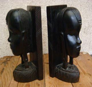 Paar Antike Buchstützen Schwer Eisenholz Afrika Um 1930 Rar - Dachbodenfund Bild