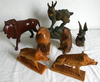 7 Schnitzereien – Tiere – Figuren Aus Holz – Tierfiguren – Konvolut Bild