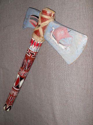 Uraltes Tomahawk Indianer / Wikinger Holz Beil Axt Haida Viking Hand Bemalt Bild