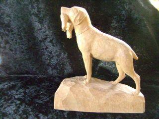 Jagdhund Mit Vogel - Skulptur - Handgeschnitzt Ansehen - Erzgebirge??? Bild