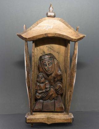 Haus - Altar,  Gottesmutter Maria Und Jesus Christus Kind,  Marterl,  Schrein,  36 Cm Bild