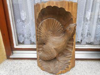 Holzfigur Holzrelief Motiv Auerhahn Geschnitzt Aus Lindenholz 42 X 24 Cm Bild
