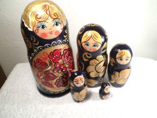 Matroschka Matrijoschka Holzpuppe 5 Stück Ineinander Russische Lackmalerei 1985 Bild
