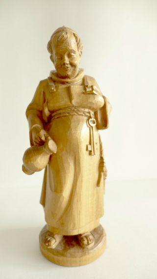 Schöne Holz Schnitzerei MÖnch Mit Kutte Und Krug Schnitz - Figur Details Bild