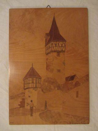 2 Intarsienbilder,  Holzbilder,  Einlegearbeiten,  Intarsien, Bild