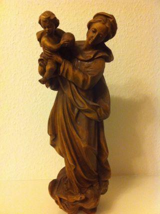Große Holzfigur Madonna Maria Baby Jesuskind Echtholz Handarbeit,  Wandhalterug Bild