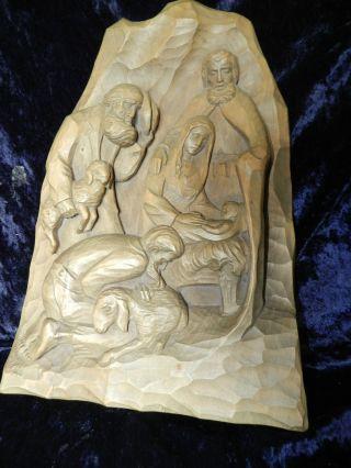 Krippe Hl.  Josef Jesus Maria 37cm Südtirol Gröden Blockkrippe Figur Geschnitzt Bild