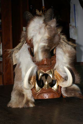 Krampusmaske Aus Handarbeit Wildschweinfell Antilopenhorn Rentierfell Warzenschw Bild