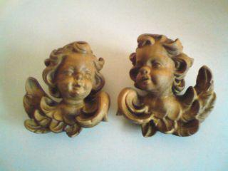 2x Holz Engelsköpfe Engel Putte Engelsfiguren Bild