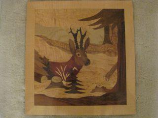 Intarsienbild Holzbild Einlegearbeiten Einlegebild Jagtmotiv Rehbock Bild