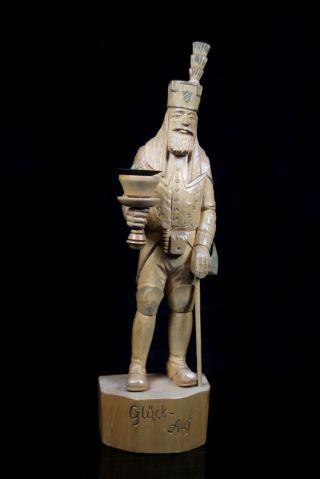 Alte Erzgebirge Holz Skulptur Bergmann Glück Auf Handarbeit Schnitzkunst 37 Cm Bild