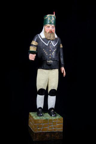 Antike Erzgebirge Holz Skulptur Bergmann 1915 Handarbeit 44 Cm Schnitzkunst Bild