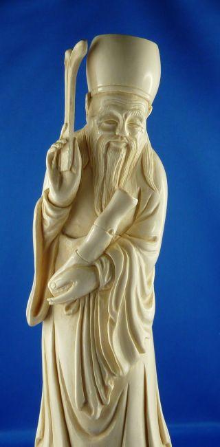 Alter Bein - Mann - Gottheit - China - Asien - SammlerstÜck - Selten - Bein BÜste Bild