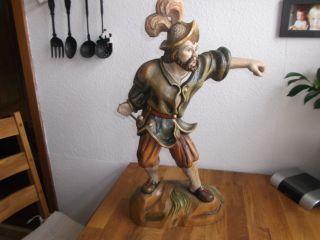 Geschnitzte Holzfigur,  Nachtwächter 66cm Hoch Bild