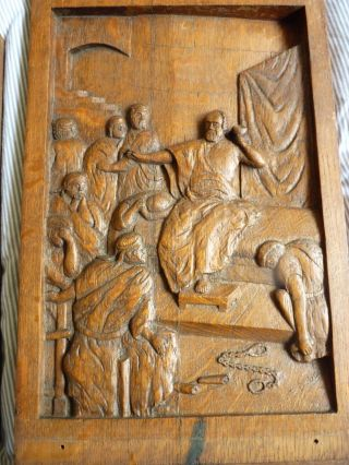 2x Wooden/holz Relief By Paul Dubois Signed/signiert P.  Dubois One Is Dated 1872 Bild