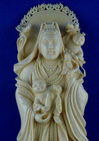 Alte Bein - GÖttin - Guanyin - China - Asien - SammlerstÜck - Selten - Bein BÜste Bild
