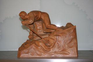 Antike Holzschnitzerei Aus GrÖden - Skifahrer Um 1920 - Absolute Rariät Bild