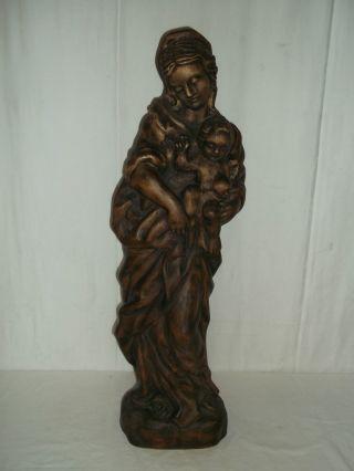 Schöne 68 Cm Weihnachts Holzfigur Maria Mit Jesuskind Mit Sehr Vielen Details Bild