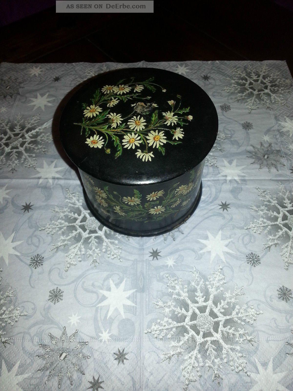 Alte Holzdose Mit Deckel Und Blumenmotiven Holzarbeiten Bild