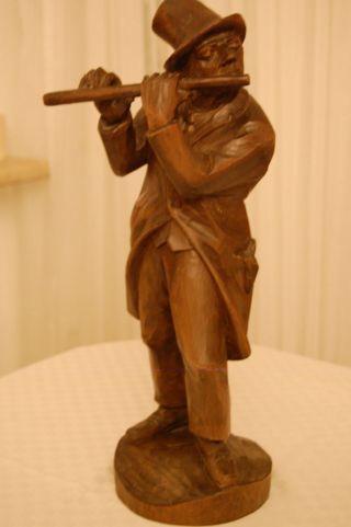 Holzfigur,  Mann Mit Flöte,  Handgeschnitzt Aus Oberammergau,  51 Cm Hoch Bild