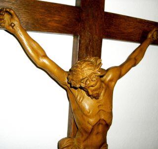 Antikes Kruzifix Herrgott Schnitzerei Jesus Am Kreuz Barock Corpus Eiche 80x45cm Bild