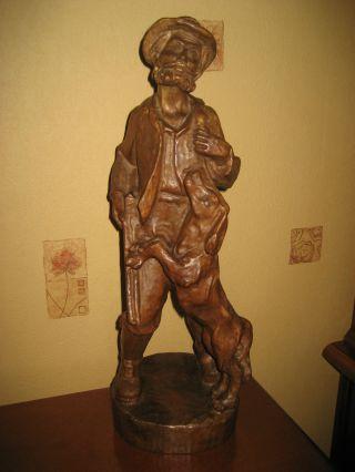 Jäger Mit Hund - 41 Cm.  Holzschnitzerei Bild