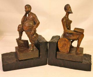 2 Buchstützen Holzfiguren Don Quijote / Sancho Panza Dekoration Bild