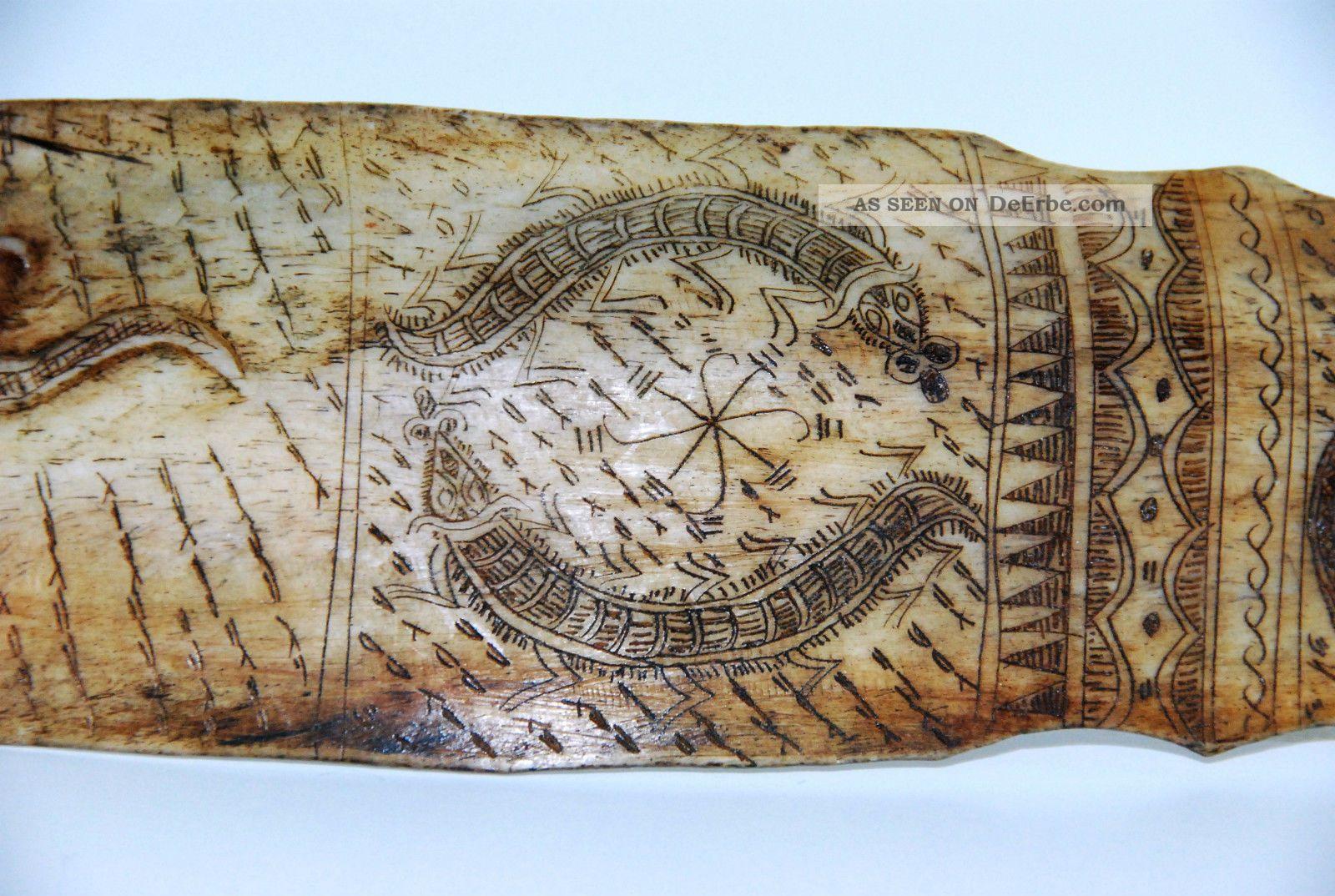 Absolute Rarität,  Scrimshaw Der Batak Aus Sumatra,  Amulett,  Schriftzeichen Beinarbeiten Bild