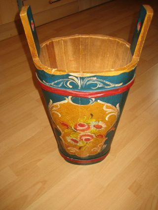 Schirmständer Aus Holz Mit Bauernmalerei - Alter: Ca.  60 Jahre - Bild