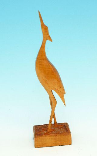 Dekoration Kranich/fischreiher Aus Holz Geschnitzt Holzplastik Wohnaccessoire Bild