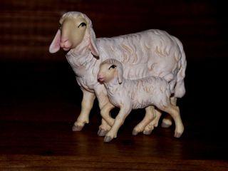 Für Krippenfiguren 14cm,  1 Schaf Mit Lamm,  Echte Holzschnitzerei,  Holzfiguren, Bild