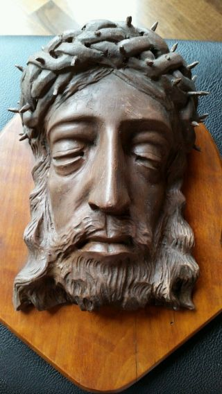 Jesus Christus Kopf BÜste Aus Echtholz / 29cm 1,  5 Kilo / Rar / Alt Bild