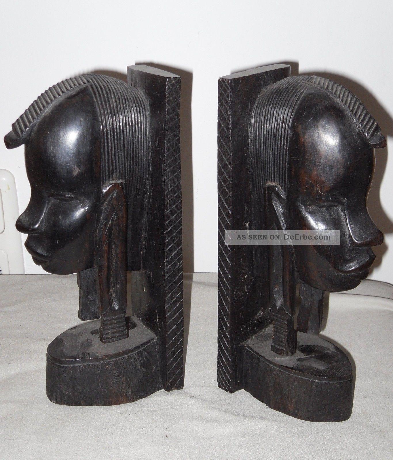 2 Buchstützen,  Afrikanische Volkskunst,  Hartholz,  Schwarz,  24x7x10 Cm Holzarbeiten Bild