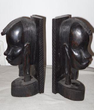 2 Buchstützen,  Afrikanische Volkskunst,  Hartholz,  Schwarz,  24x7x10 Cm Bild