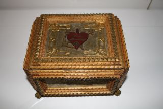 Uralte,  Antike,  Außergewöhnliche Holz - Schatulle,  Reich Verziert,  Jugendstil Bild