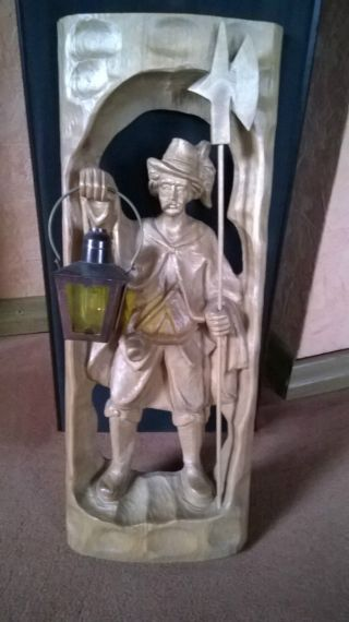 Nachtwächter,  Wächter Holzbild,  Relief,  Holzschnitzerei,  Gemarkt Alberich 3/40 Bild
