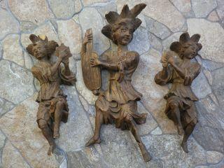 3 Antike Holz Figuren Skulptur Minnesänger Statue Engel Musizierend Geschnitzt Bild