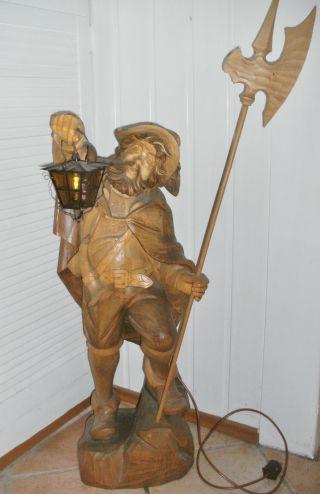 Nachtwächter Geschnitzt Tiroler Arbeit Ca.  90 Cm Groß Mit Laterne U.  Hellebarde Bild
