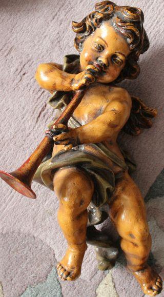 Riesig Engel Putte M.  Schalmei Holz? Gut Erhalten M.  Aufhängeöse 55 Cm Groß Bild